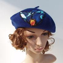 béret bleu appliqué tissu tahitien
