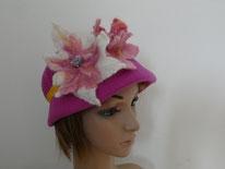 chapeau en feutre à béret rose