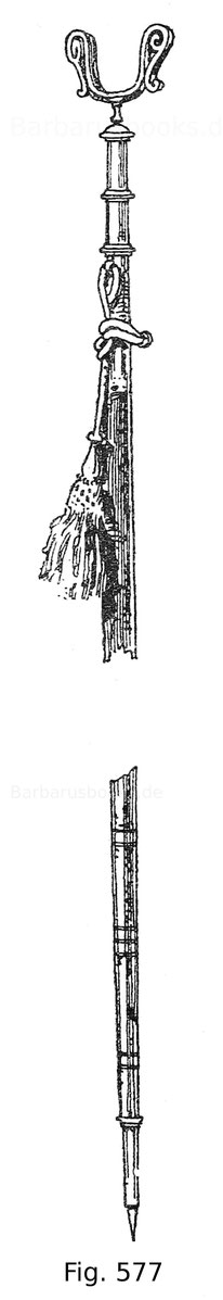 """Fig. 577. Gewehrgabel aus dem Besitz des Erzherzogs Leopold V. von Tirol (1586—1632), der Schaft ist reich mit Elfenbein belegt, oberhalb zeigt sich die Darstellung des guten Hirten mit dem Schrifttext: """"Ego sum pastor bonus"""". Deutsch. Um 1628."""