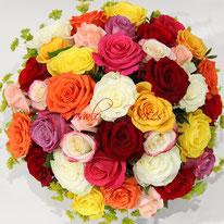 Bouquet de roses, très coloré