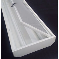Gabinete INIFED marco abatible para 2 tubos T8 (Led/Fluorescente) 30x122cm (Sobreponer/Empotrar) Dilae
