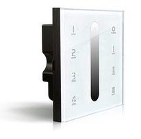 DX-5 - Descripción: Touch Panel de Atenuación, 4 Zonas. 100-240V CA. DMX 512. Requiere controlador R4-5A o R4-CC. Señal RF hasta 30m - Voltaje de Operación: 100-240V AC