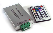 RGB-4703 - Descripción: Controlador RGB 11 Modos - Consumo: Potencias: 60W/144W/288W Voltaje de Operación: 12-24V CD Incluye equipo: Incluye control remoto, requiere fuente de poder.