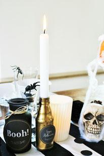 Bild: Halloween Deko Ideen - klassisch in Schwarz, Weiß, Orange und Gold, gefunden auf Partystories.de