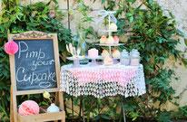 Bild: DIY Party Deko zum selber machen vom DIY Deko Blog Partystories - Cupcake Bar als Candybar oder Sweettable für die Party oder Hochzeit