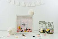 Bild: Kreative Ideen und Rezepte mit Konfetti und Funfetti vom Kreativblog Partystories.de // DIY Geschenkidee mit Konfetti im Rahmen und Freebie Bastelvorlage
