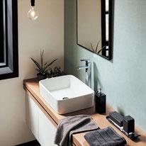 ブルーグレーのストレートタイルが清潔感を作り出し、朝の爽やかな時間を演出します