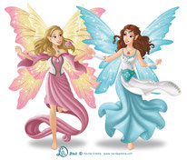 Illustratio two female elves with wings running hand in hand