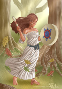 woman sing drum in the wood trees magical white dress