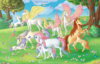 Illustration  female unicorns and pegasus mothers with their foals stay together in a meadow full of flowers