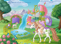 Magical Elf with Unicorn and Foal