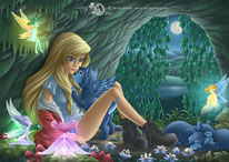 little blond girl  at nigh in the wolf den cave with a winged wolf, fairies, wolf puppies  and moonlight