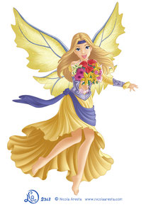 Illustration flying female elf with wings give you a flower bouquet