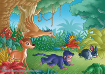 illustration_ a deera, a monkey, a duck, a rabbit and a parrot escape in the jungle