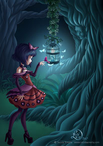 illustration little girl lolita stay in front of a candle surrounded by magic moths on nigt in the wood.