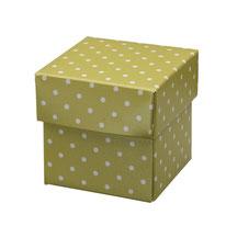 Pillow Box Kissen Schachtel grün mit Punkten
