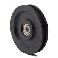 Seilrolle Ø 57 mm für Seile bis Ø 4 mm aus Kunststoff mit Kugellager