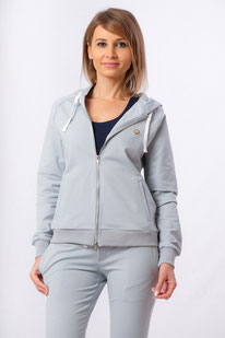 Damen Yoga Sweat Shirt Hoodie Baumwolle blau