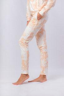 Yogahose Baumwolle apricot Print