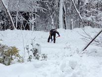 1月18日午後。雪かきが追いつかない