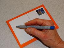 A b s e n d e r : Gewürzpostkarte beschriften, frankieren und ab die Post!