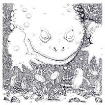 Bild:Ochsenfrosch Federzeichnung schwarz weiß Tusche Kupferstich englisch Kinderbuch Frosch Prinz vom Teich Märchen