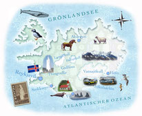 Bild: Landkarte Island Mischtechnik © Caroline Ronnefeldt