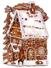 Bild: Illustration Lebkuchenhaus Adventskalender ars Edition © Caroline Ronnefeldt
