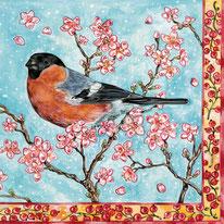 Bild: Serviette Entwurf Vogel im Frühling Dompfaff  © Caroline Ronnefeldt