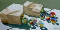 Ölbild mit Tüte und Murmeln