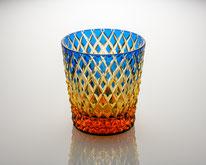 オールドグラス 竹編み ルリ/琥珀