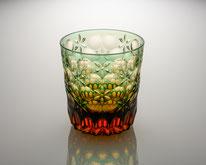 オールドグラス 万華鏡 緑/琥珀