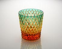 オールドグラス 竹編み 緑/琥珀