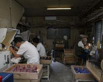 大場硝子加工所 作業中の職人