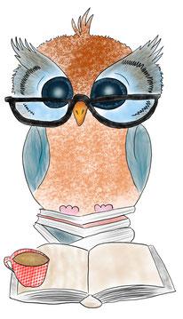 gezeichnete Eule auf Büchern sitzend, vor ihr offenes Buch und Kaffetasse, Jungo-Grafik