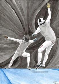Aquarelle sport représentant l'escrime. Combat entre 2 escrimeurs à l'épée ou au fleuret ou au sabre. Le fond donne une impression de mouvement