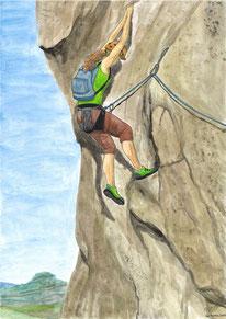 Aquarelle sport représentant l'escalade. Une femme escalade une paroi rocheuse en montagne. Elle est encordée.