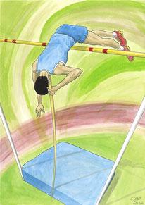 Aquarelle sport représentant le saut à la perche. Au premier plan, on voit l'athlète qui franchit la barre. En contre-bas, on voit le matelas de réception