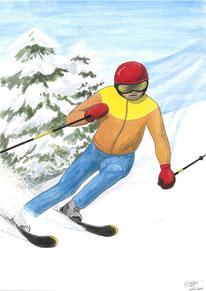 Aquarelle sport représentant le ski. Un skieur descend une pente enneigée et amorce un virage.
