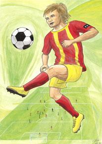 Aquarelle sport représentant le football. On y voit un joueur qui dribble avec son ballon. A l'arrière, on voit 2 équipes s'affronter sur un terrain de football.