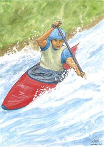 Aquarelle sport représentant le canoé kayak. Un homme descend des rapides dans un canoé. Il pagaye.