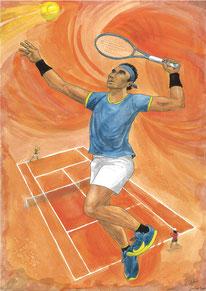 Aquarelle sport représentant le tennis (sur terre battue). On y voit un joueur qui va smasher. A l'arrière, un match sur un court de tennis.