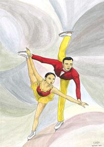 Aquarelle sport représentant le patinage artistique. Un homme et une femme patinent en levant une jambe.