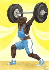 Aquarelle sport représentant un haltérophiliste en plein exercice.