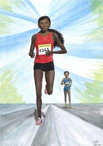 Aquarelle sport représentant la course à pied. Course de fond pour 2 marathoniennes.