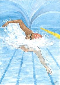 Aquarelle sport représentant la natation. Gros plan sur une nageuse dans une piscine.