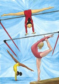 Aquarelle sport représentant la gymnastique féminine. On y voit 3 disciplines : les barres asymétriques, la poutre et la gymnastique au sol.