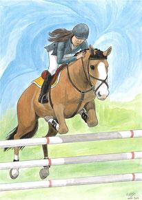 Aquarelle sport représentant l'équitation. On y voit un cheval qui saute un obstacle, avec une cavalière sur son dos.
