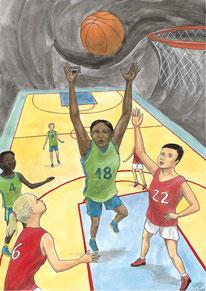 Aquarelle sport représentant le basketball. Gros plan sur le ballon et le panier. Des joueuses se disputent la balle sur le terrain de basket.