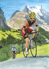 Aquarelle sport montrant 2 cyclistes sur route, en montagne.
